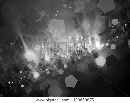 Pentagon shaped bokeh in space intensity map black and white