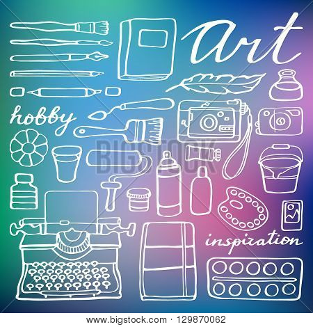 Art supplies set. Hand-drawn cartoon collection of art tools - brush, feather, photo camera, paint, artbook. Doodle drawing. Vector illustration