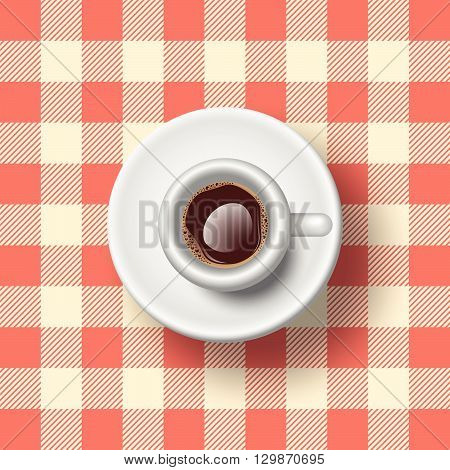 Espresso On Clothed Table. Semi Realistic Vector Illustration Of An Espresso On A Table Whit A Checked Tablecloth.