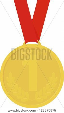 Medal icon sign vector image. Yellow medal icon color