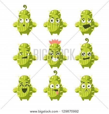Cartoon Cactus Emoji Set Of Flat Isolated Funny Vector Icons In Childish Style