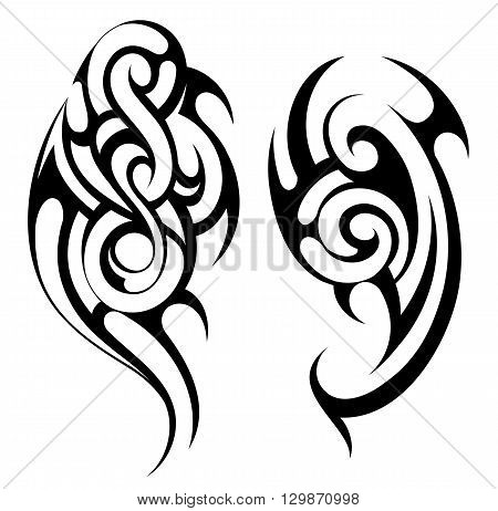 Ethnic tattoo shape in Maori ethnic style