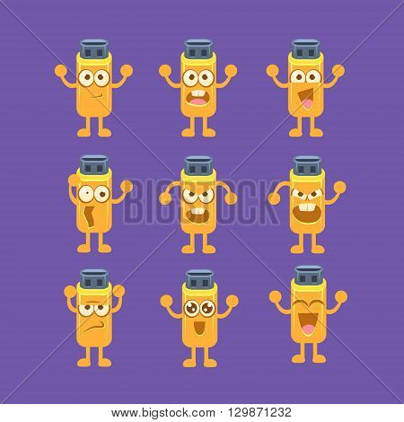 Usb Stick Emoji Character Set Of Flat Bright Color Trendy Cartoon Design Vector Icons Isolated On Violet Background