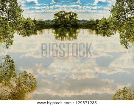 Landscape with the image of russian midland in summer