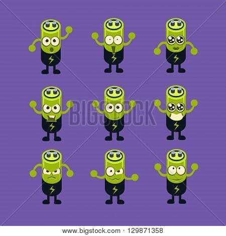 Battery Emoji Character Set Of Flat Bright Color Trendy Cartoon Design Vector Icons Isolated On Violet Background