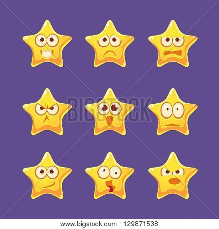 Golden Star Emoji Character Set Of Flat Bright Color Trendy Cartoon Design Vector Icons Isolated On Violet Background