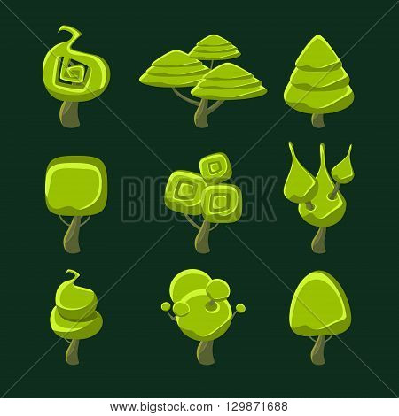 Trees With Fantastic Shape Crown Set Of Flat Bright Color Cool Fantastic Design Vector Icons Isolated On Dark Background