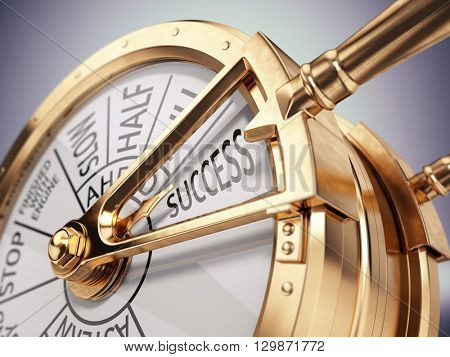 Vintage ships engine room telegraph on success mark - success business concept. 3d render
