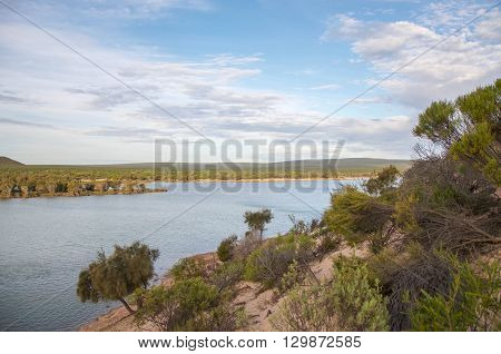 Elevated views over the Murchison River landscape with native flora on coastal dunes under a blue sky with clouds at dusk in Kalbarri, Western Australia.