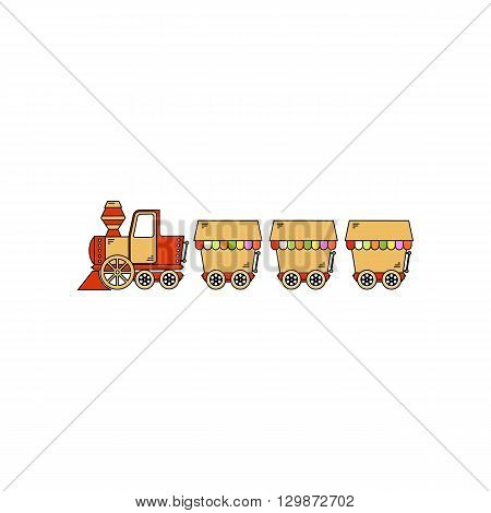 Steam locomotive on the railroad with wagons vecto illustration isolated on the white background.