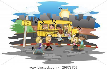 Cartoon kid and kindergarten or elementary students walking up the bus at bus stop to go to school create by vector