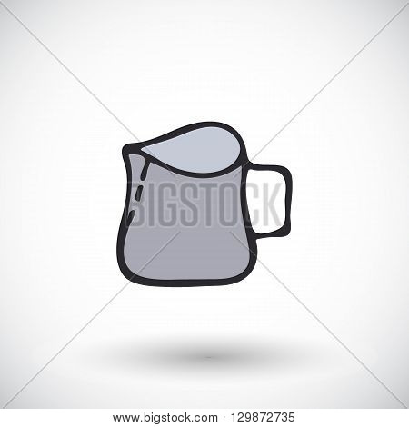 Milk pitcher. Hand-drawn kitchen or bartender supply or barista tool icon. Doodle drawing. Vector illustration