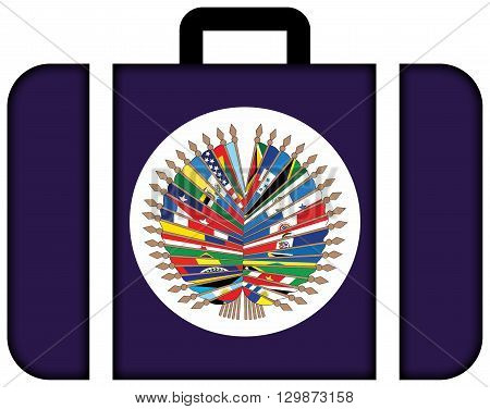 Flag Of  Organization Of American States. Suitcase Icon, Travel And Transportation Concept