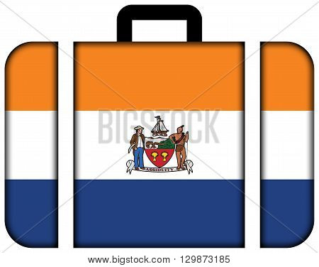 Flag Of Albany, New York. Suitcase Icon, Travel And Transportation Concept