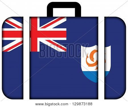 Flag Of Anguilla. Suitcase Icon, Travel And Transportation Concept