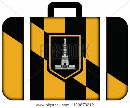 Flag Of Baltimore, Maryland. Suitcase Icon, Travel And Transportation Concept