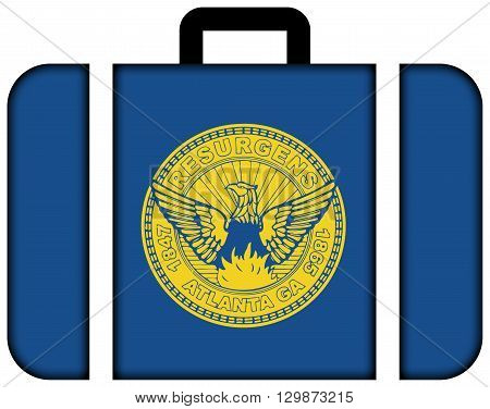 Flag Of Atlanta, Georgia. Suitcase Icon, Travel And Transportation Concept