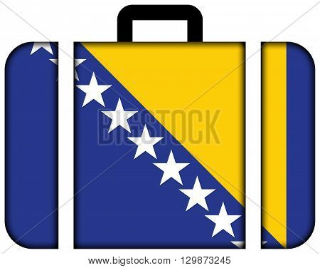 Flag Of Bosnia And Herzegovina. Suitcase Icon, Travel And Transportation Concept