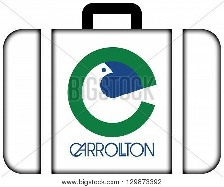 Flag Of Carrolton, Texas. Suitcase Icon, Travel And Transportation Concept