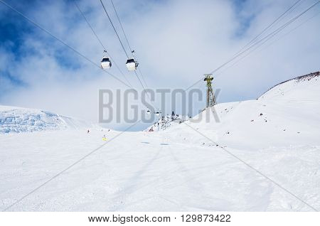 Ski Slope And Cable Car On The Ski Resort Elbrus.