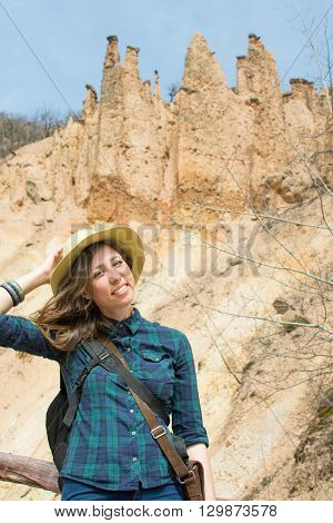 Woman Hiker With Backpack Outdoors