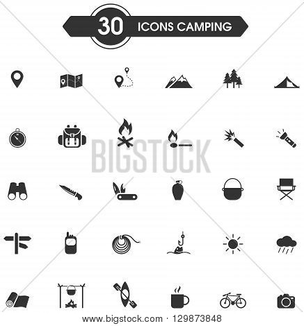 30 camping and outdoor nature leisure activity silhouette sign and symbol icon set, create by vector