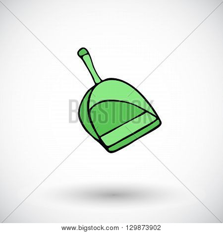 Dustpan sketch. Hand-drawn cartoon cleaning icon - scoop. Doodle drawing. Vector illustration.