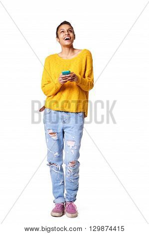 Cheerful Young African Lady With Mobile Phone