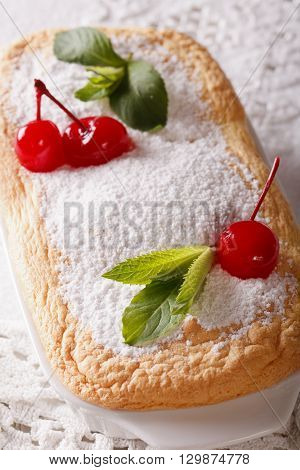 Tasty Austrian Dessert Salzburger Nockerln With Cherries And Mint Macro. Vertical