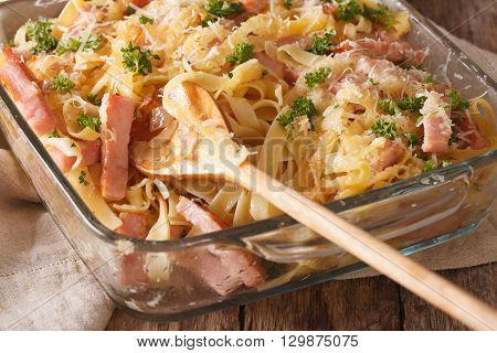 Austrian Cuisine: Schinkenfleckerln Macro In Baking Dish. Horizontal