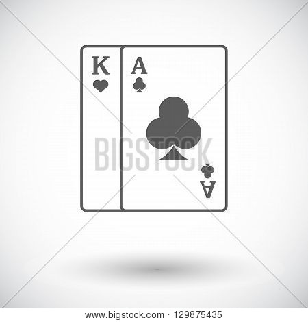 Play card. Single flat icon on white background. Vector illustration.