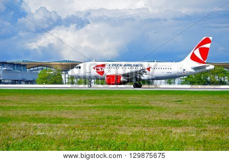 SAINT PETERSBURG RUSSIA - MAY 11 2016. CSA Czech Airlines Airbus A319 airplane-registration number OK-MEK. Airplane is riding on the runway after arrival at Pulkovo International airport