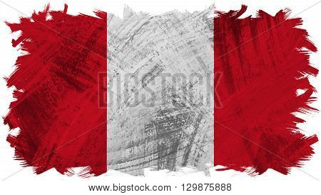 Flag of Peru, Peruvian Flag painted with brush on solid background, ink texture