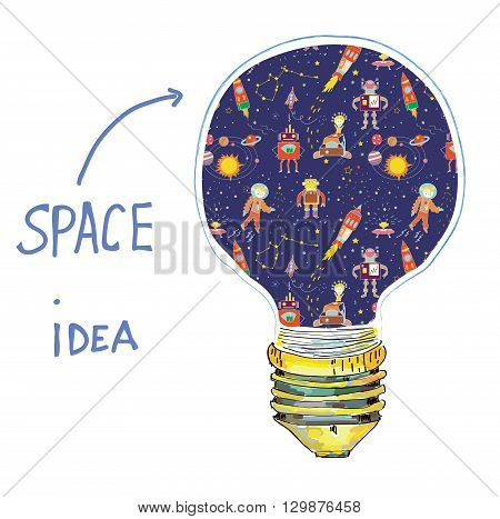 Idea lightbulb space illustration. Concept for the card background or business vector
