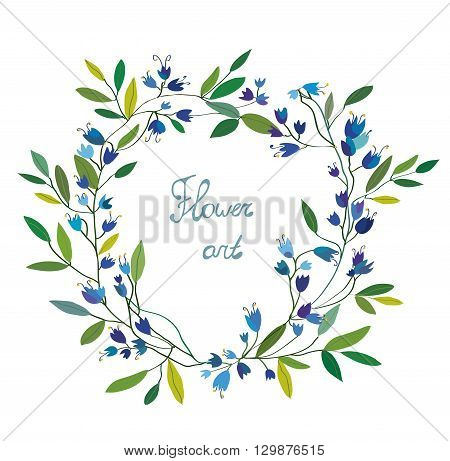 Floral wreath with hand drawn design bells flowers. Vector graphic illustration.