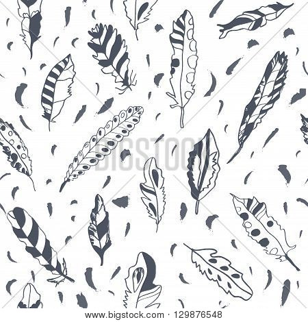Graphic feathers seamless pattern ornate design. Vector illustration