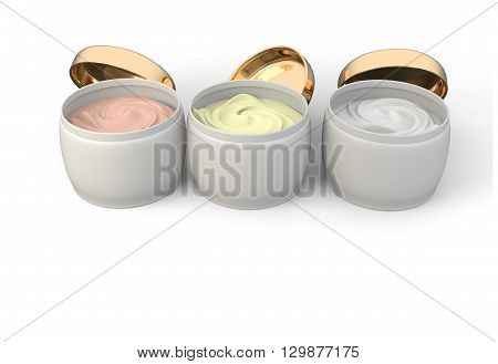 3D illustration of collection of beauty hygiene containers on white background.