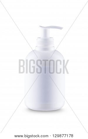 White bottle of liquid soap with dispenser and white label. With clipping paths
