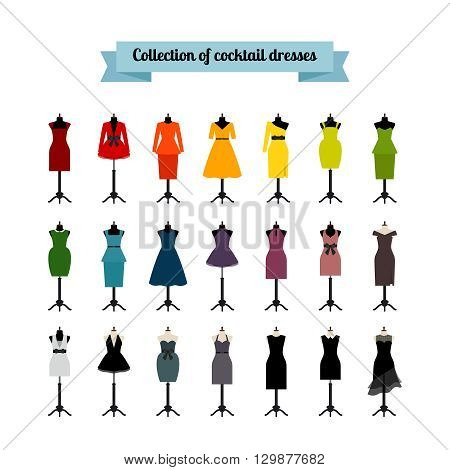 Summer party dresses or cocktail party dresses. Vector dresses icons set