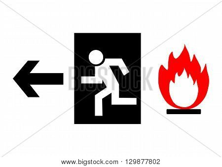 Emergency exit sign black on a white background. Vector illustration.