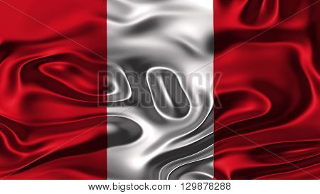 Flag of Peru, Peruvian Flag painted on silk material