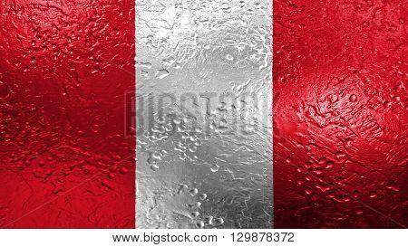 Flag of Peru, Peruvian Flag painted on metal