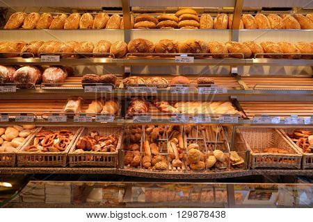 ROSENBERG, GERMANY - JUNE 08: Modern bakery with different kinds of bread, cakes and buns in Rosenberg, Germany on June 08, 2015.