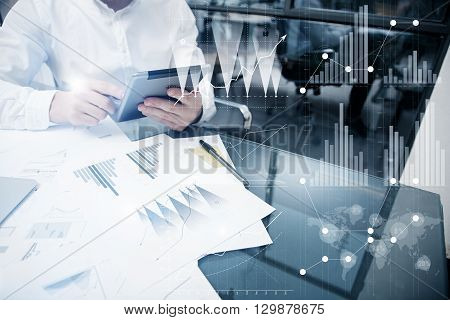 Photo Analytics Department working Market Charts.Trade Manager work process.Use Digital devices.Graphic icon, Worldwide Online Stock Exchanges Interface on Screen.Business Project Startup.Film Effect.