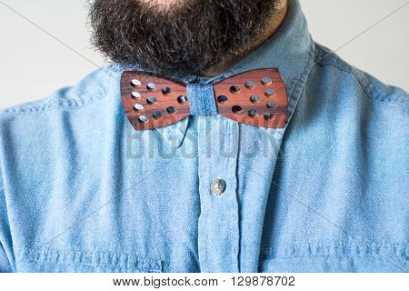 Bearded Man With A Wooden Bow Tie
