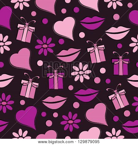 Decorative celebratory seamless background with lipsgift and hearts