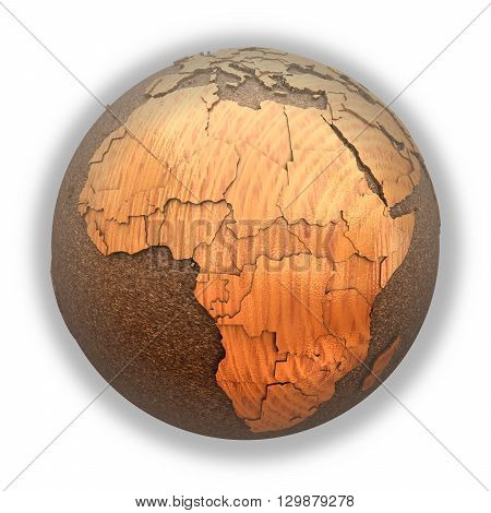Africa On Wooden Planet Earth