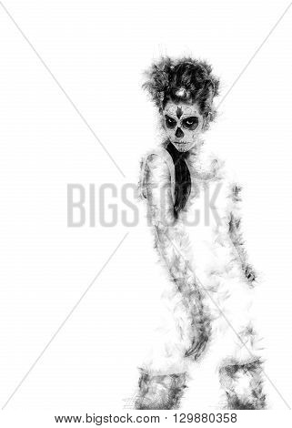 Silhouette of a Day of the dead girl with sugar skull makeup over white. Digitally generated image