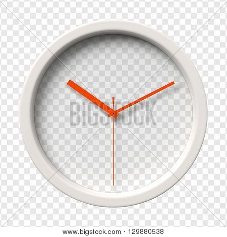Realistic Wall Clock. Ten o'clock am or pm. Transparent face. Red hands. Ready to apply. Graphic element for documents, templates, posters, flyers. Vector illustration