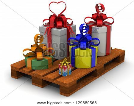 Boxes with gifts on the pallet. Many gift boxes lying on the pallet. Isolated. 3D Illustration